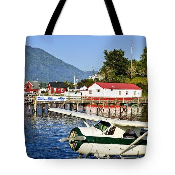 Sea Plane At Dock In Tofino Tote Bag