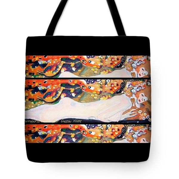 Sea Serpent IIi Tryptic After Gustav Klimt Tote Bag by Anna Porter