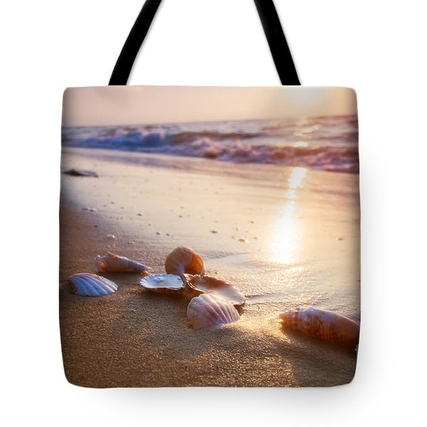 Sea Shells On Sand Tote Bag by Michal Bednarek