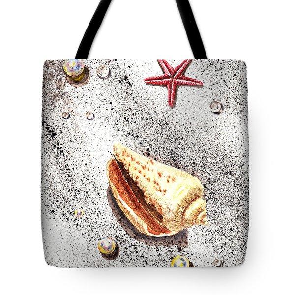 Sea Shells Pearls Water Drops And Seastar  Tote Bag by Irina Sztukowski