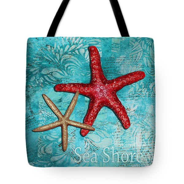 Sea Shore Original Coastal Painting Colorful Starfish Art By Megan Duncanson Tote Bag