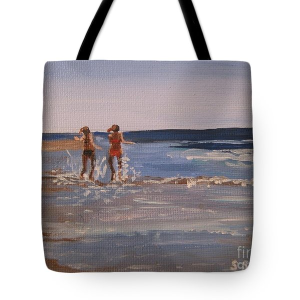 Sea Splashing On The Beach Tote Bag