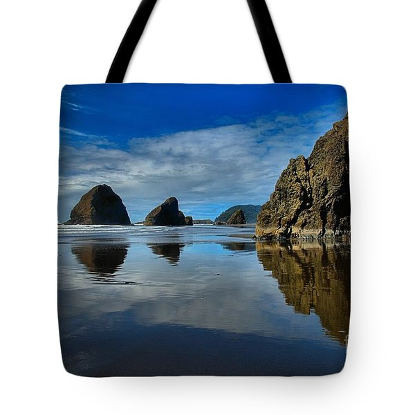 Sea Stack Blues Tote Bag by Adam Jewell