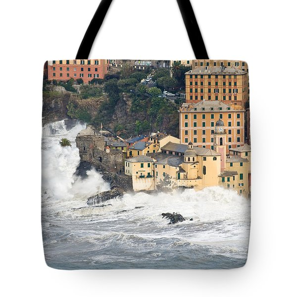 Tote Bag featuring the photograph Sea Storm In Camogli - Italy by Antonio Scarpi