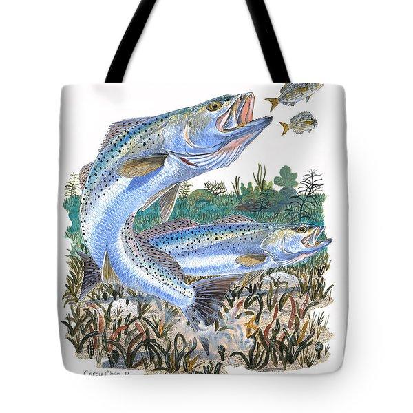 Sea Trout Tote Bag by Carey Chen