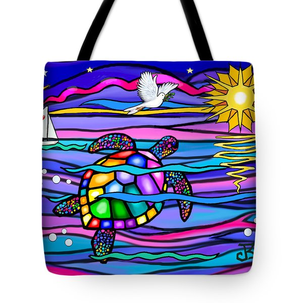 Sea Turle In Blue And Pink Tote Bag by Jean B Fitzgerald