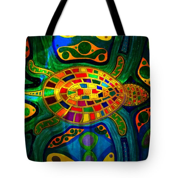 Sea Turtle - Abstract Ocean - Native Art Tote Bag