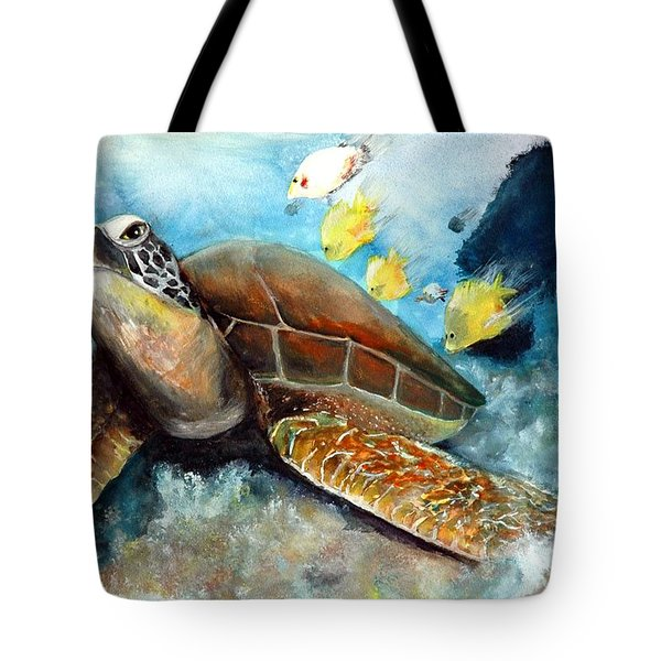 Tote Bag featuring the painting Sea Turtle I by Bernadette Krupa