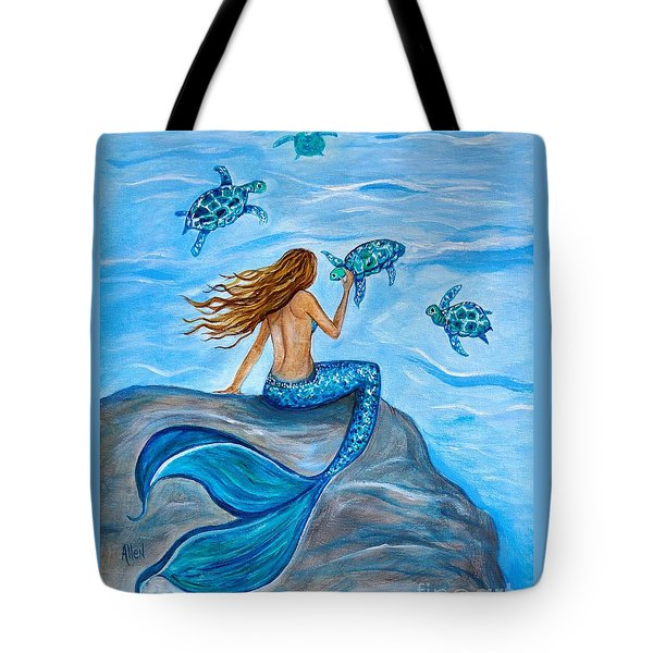 Sea Turtle Friends Tote Bag by Leslie Allen