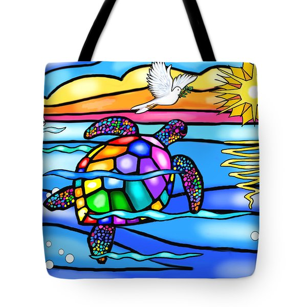 Sea Turtle In Turquoise And Blue Tote Bag by Jean B Fitzgerald