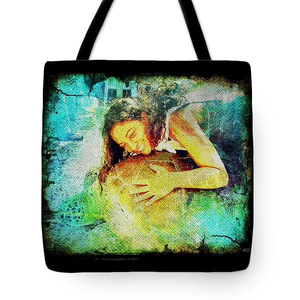 Tote Bag featuring the digital art Sea Turtle Love by Absinthe Art By Michelle LeAnn Scott