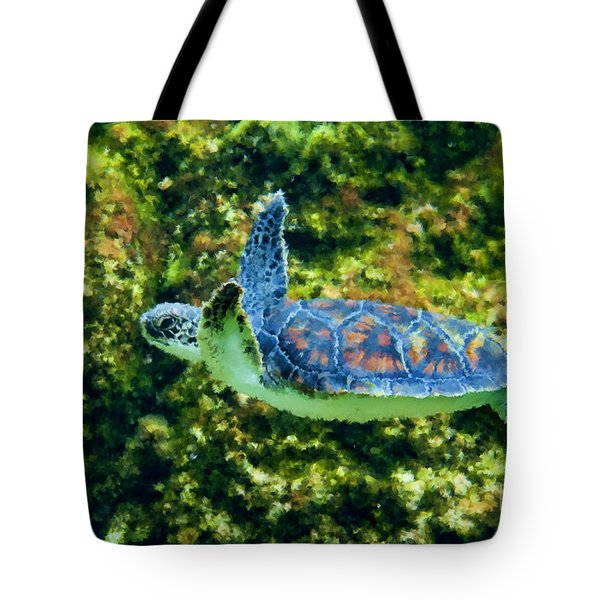 Sea Turtle Swimming In Water Tote Bag by Dan Friend
