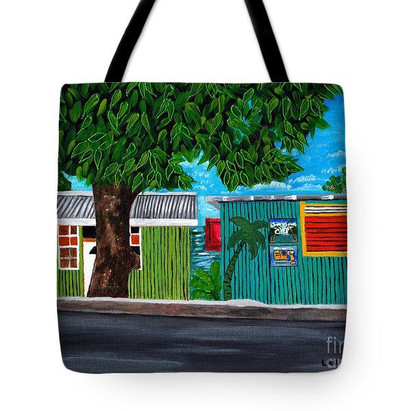 Tote Bag featuring the painting Sea-view Cafe by Laura Forde