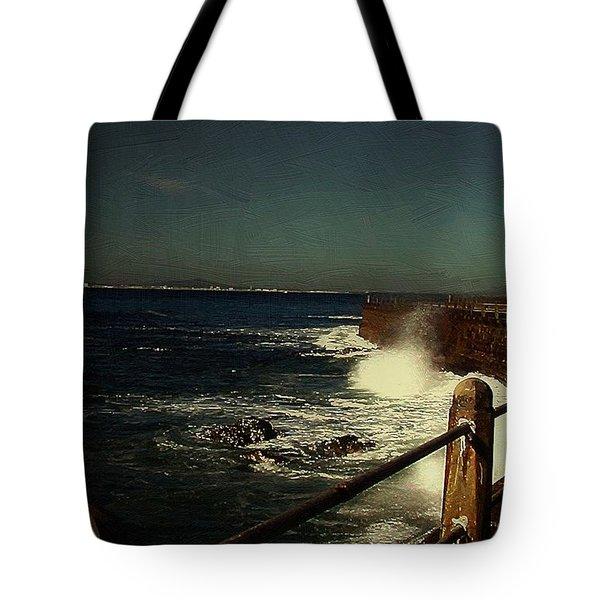 Sea Wall At Night Tote Bag