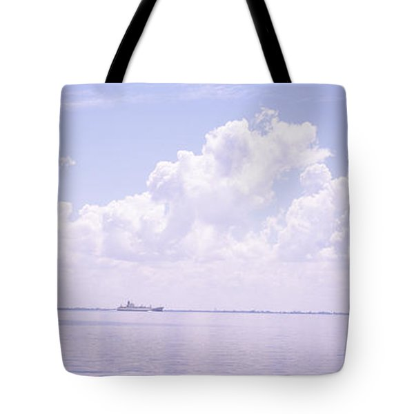 Sea With A Container Ship Tote Bag
