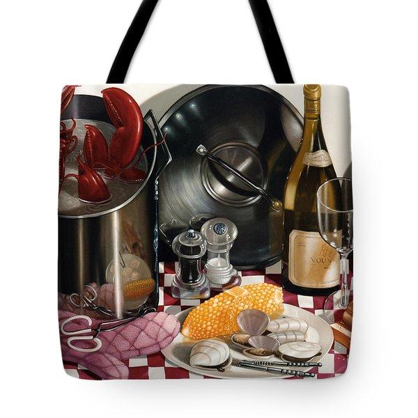 Seafood Serenade 1996  Skewed Perspective Series 1991 - 2000 Tote Bag by Larry Preston
