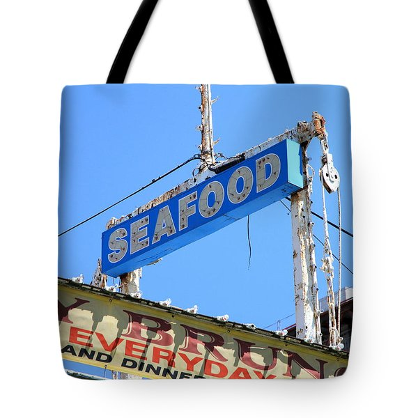 Seafood Sign Tote Bag by Valentino Visentini