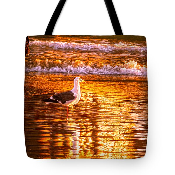 Seagul Reflects On A Golden Molten Shore Tote Bag