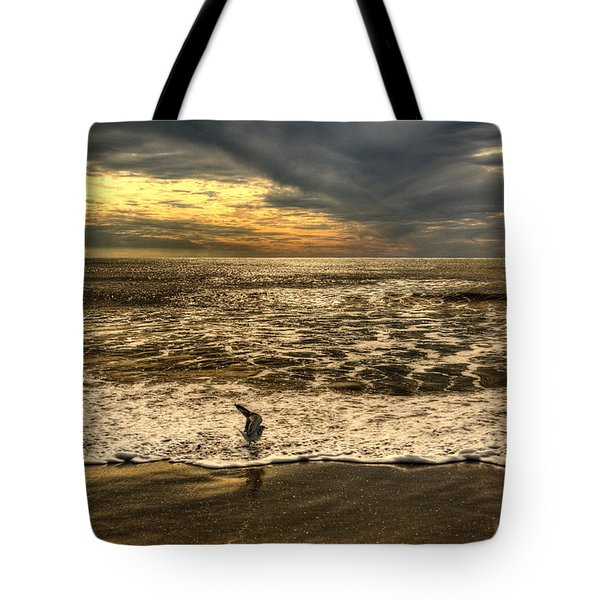 Tote Bag featuring the photograph Seagull Sunset Bath by Julis Simo