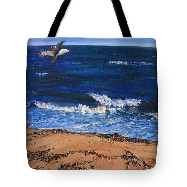 Seagull Flying Along The Surf Tote Bag