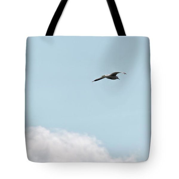 Tote Bag featuring the photograph Seagull Flying High by Leif Sohlman