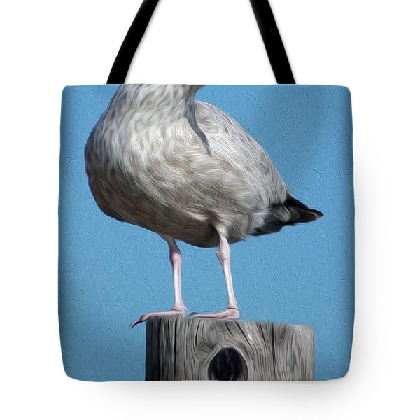 Tote Bag featuring the digital art Seagull by Kelvin Booker