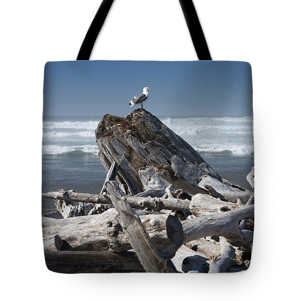 Seagull On Oregon Coast Tote Bag by Peter French