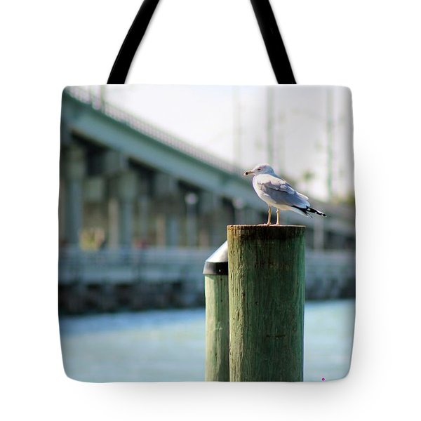 Seagull On The Dock Tote Bag