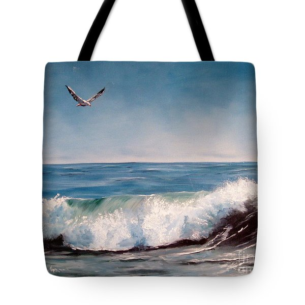Tote Bag featuring the painting Seagull With Wave  by Lee Piper