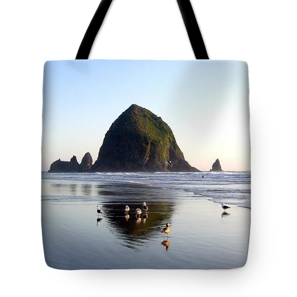 Seagulls And A Surfer Tote Bag by Will Borden