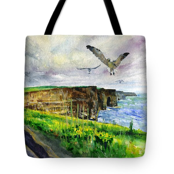 Seagulls At The Cliffs Of Moher Tote Bag