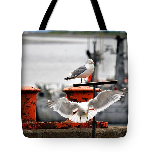 Seagulls Expression Tote Bag by Debra  Miller
