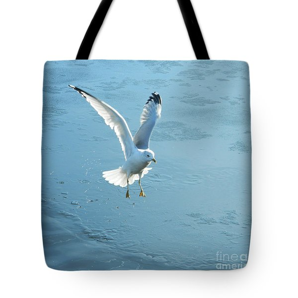 Seagull's Flight Out Of Icy Water Tote Bag
