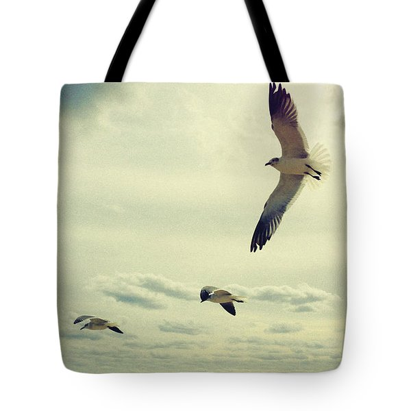 Seagulls In Flight Tote Bag by Bradley R Youngberg