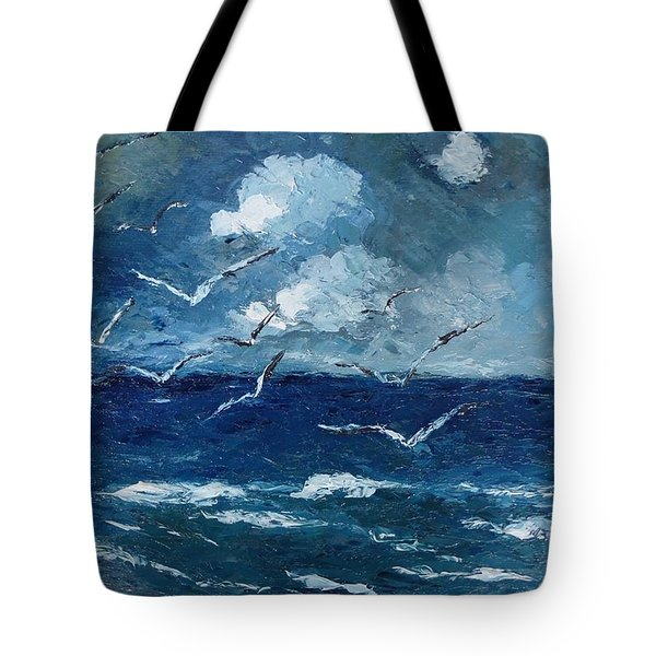 Tote Bag featuring the painting Seagulls Over Adriatic Sea by AmaS Art