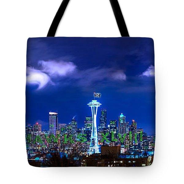 Seahawks Xlviii Tote Bag by Lori Grimmett