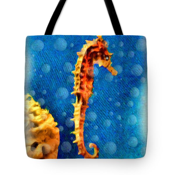 Tote Bag featuring the digital art Seahorse by Daniel Janda