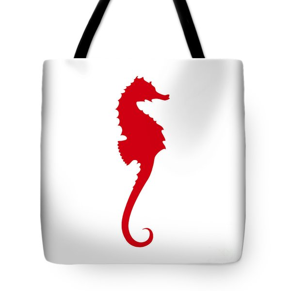 Seahorse In Red Tote Bag