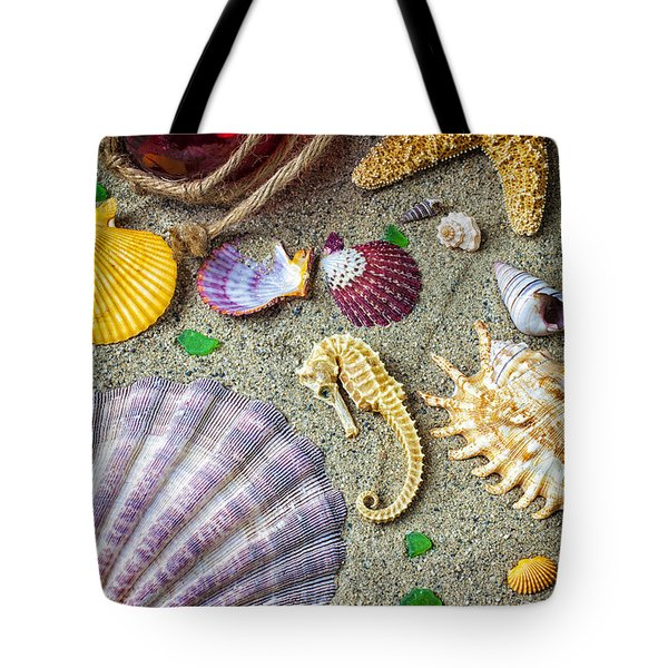 Seahorse With Many Sea Shells Tote Bag by Garry Gay