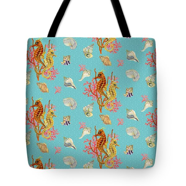 Seahorses Coral And Shells Tote Bag