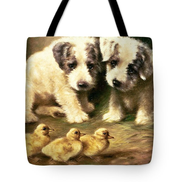 Sealyham Puppies And Ducklings Tote Bag by Lilian Cheviot