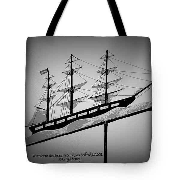 Tote Bag featuring the photograph Seaman's Bethel Weathervane  by Kathy Barney
