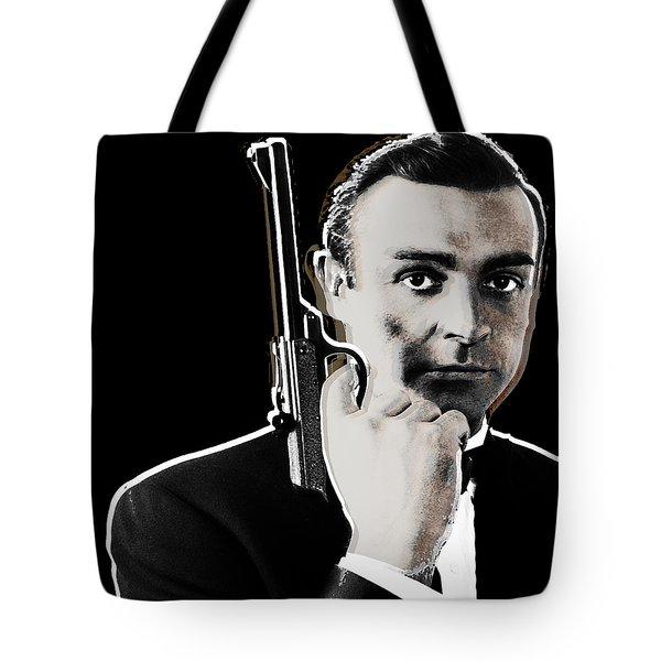 Sean Connery James Bond Square Tote Bag by Tony Rubino