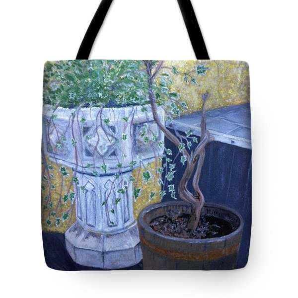 Tote Bag featuring the painting Sean's Planter by Brenda Brown