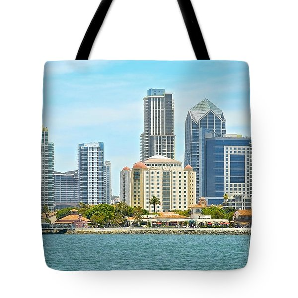 Seaport Village And Downtown San Diego Buildings Tote Bag by Claudia Ellis