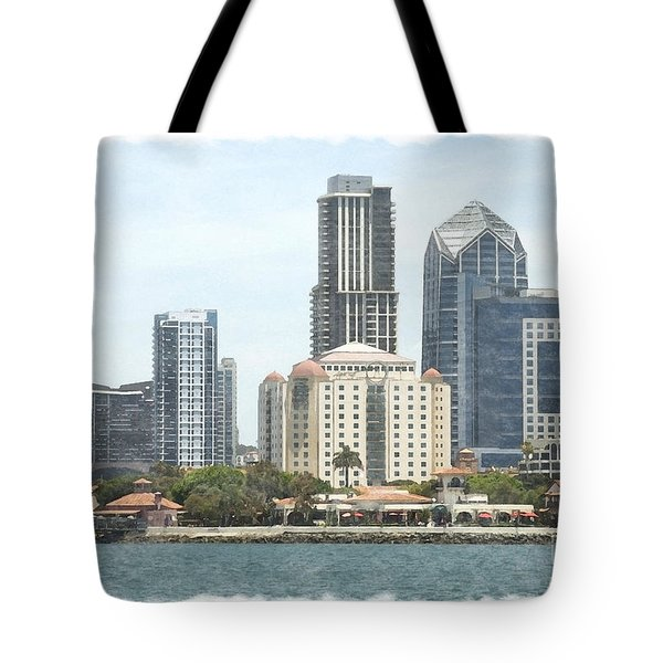 Seaport Village And Downtown San Diego Watercolor Tote Bag by Claudia Ellis