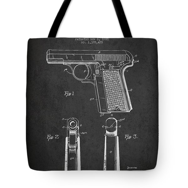 Searle Pistol Patent Drawing From 1921 - Dark Tote Bag