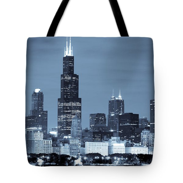Tote Bag featuring the photograph Sears Tower In Blue by Sebastian Musial