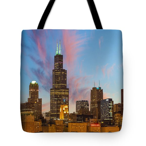 Sears Tower Sunset Tote Bag