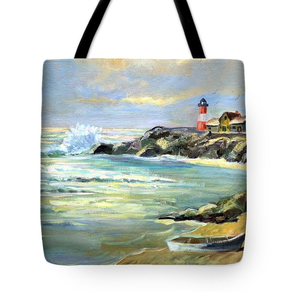 Seascape Lighthouse By Mary Krupa Tote Bag